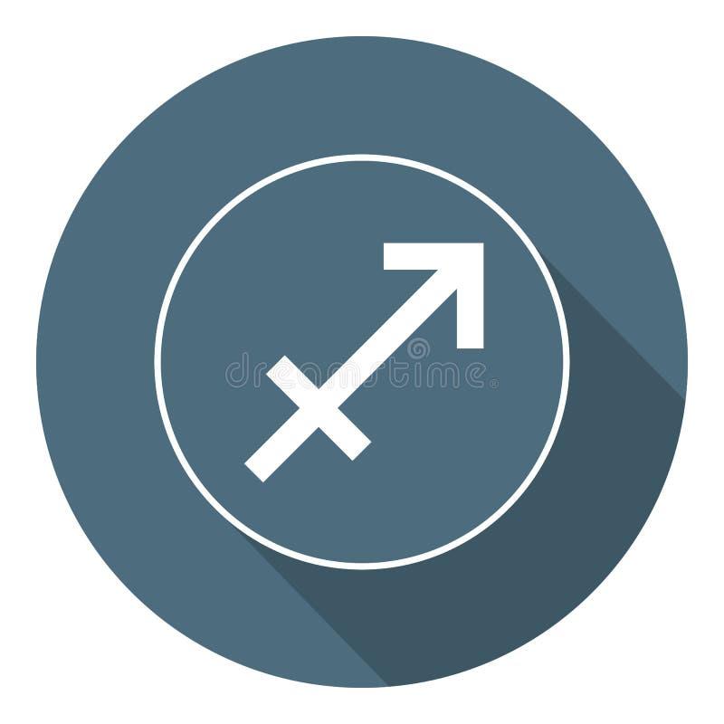 Sagittarius Icon. Vector Astrological, Horoscope Sign. Zodiac Symbol. Air Element. Flat Style. Sticker. Vector illustration for. Your Design, Web vector illustration