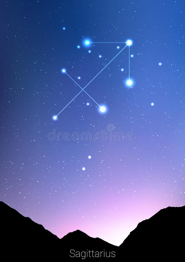 Sagittarius zodiac constellations sign with forest landscape silhouette on beautiful starry sky with galaxy and space vector illustration