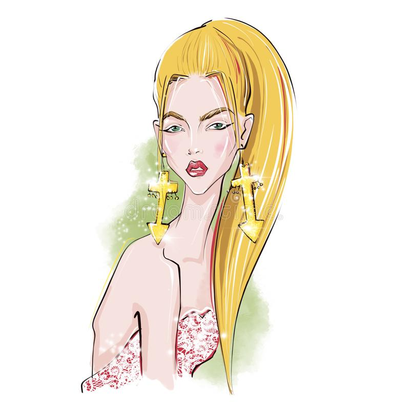 Sagittarius. Zodiac Girls Illustrations. stock illustration