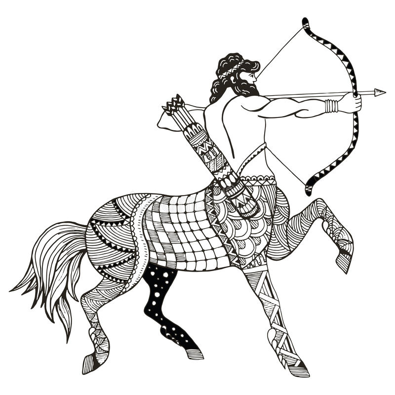 Sagittarius zodiac sign vector illustration, zentangle stylized, freehand pencil, hand drawn, pattern, horoscope sign, the archer. vector illustration