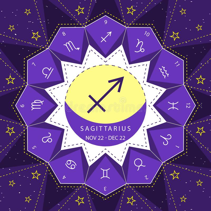 Sagittarius. Zodiac signs outline style vector set on star sky background. stock illustration
