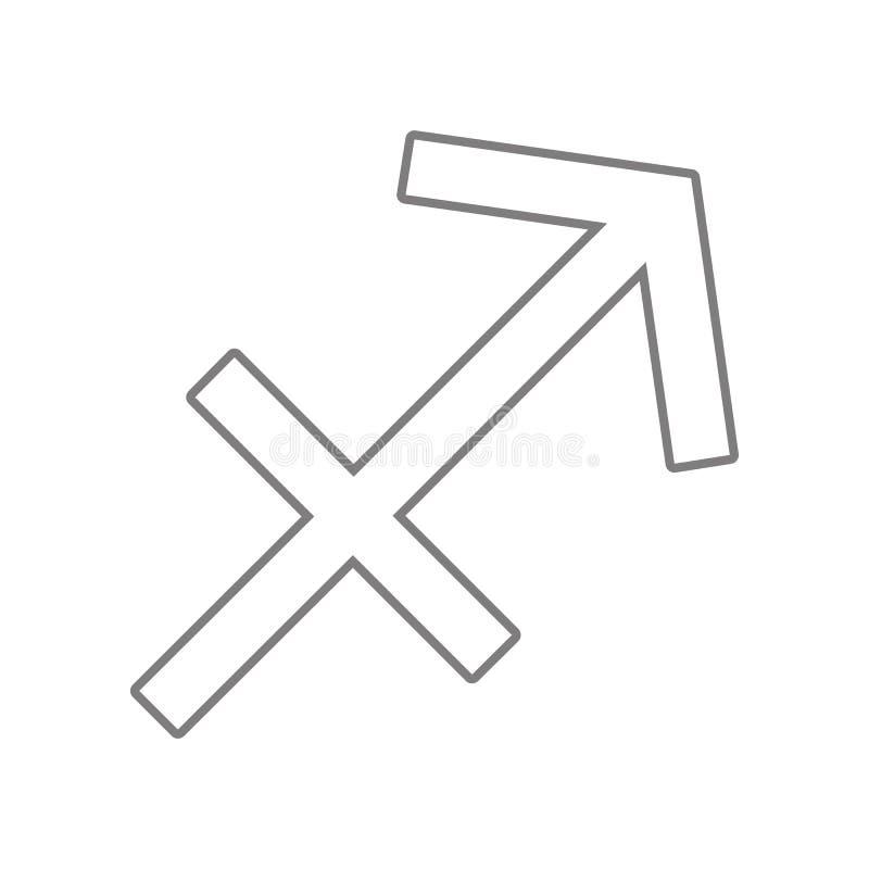 Sagittarius zodiaka wektoru znaka ikona Element sie? dla mobilnego poj?cia i sieci apps ikony Kontur, cienieje kreskow? ikon? dla royalty ilustracja