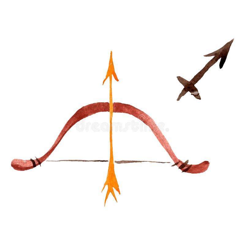 Sagittarius zodiaka znak, astrologia symbol t?a bazy projekta ustalona akwarela Odosobniony horoskop ilustracji element royalty ilustracja