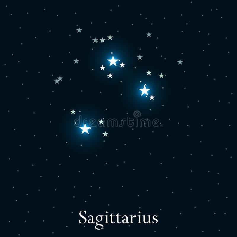 Sagittarius zodiaka znak Jaskrawe gwiazdy w kosmosie Gwiazdozbioru Sagittarius wektor ilustracja wektor