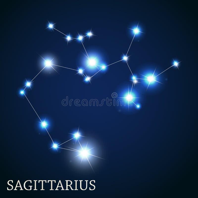 Sagittarius zodiaka znak piękny jaskrawy ilustracja wektor