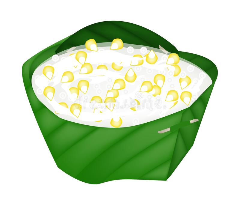 Sago and Coconut Meat in Coconut Milk. Thai Dessert, An Illustration of Sago, Sweet Corn and Coconut Meat in Syrup and Coconut Milk in Counts Banana Leaf royalty free illustration
