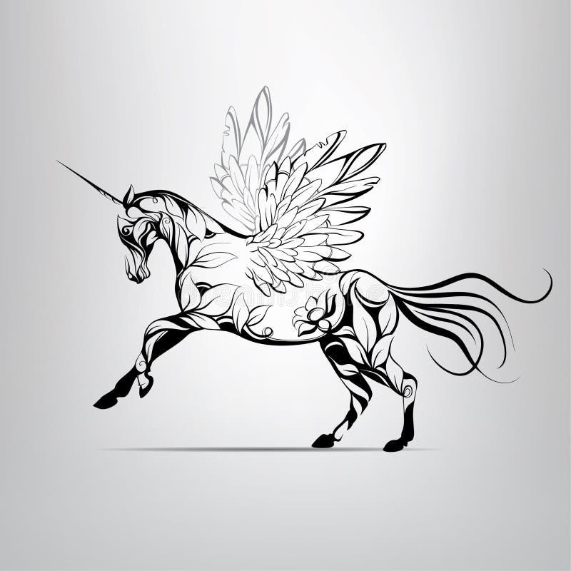 Sagolik enhörning för vektor med blom- prydnader stock illustrationer