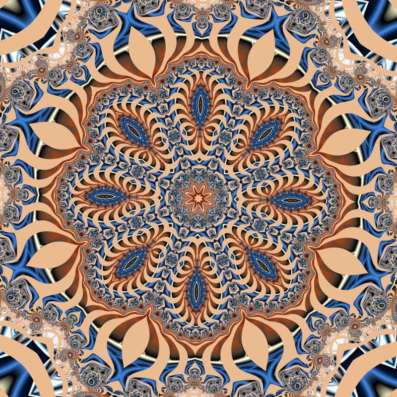 Sagolik fractalbakgrund Du kan använda det för inbjudningar, anteckningsbokräkningar, telefonfallet, vykort, kort, keramik, matto royaltyfri illustrationer