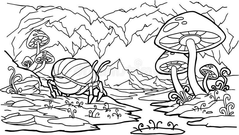 Sagolik grotta, växter, champinjoner, färgläggningbok royaltyfri illustrationer