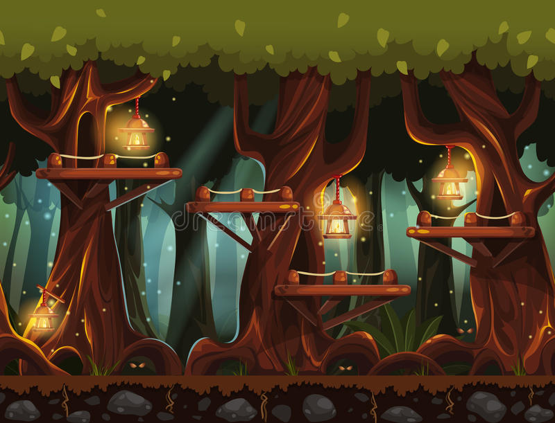 Sagolik nattskog för bakgrund med lyktor, eldflugor och träbroar i träden royaltyfri illustrationer