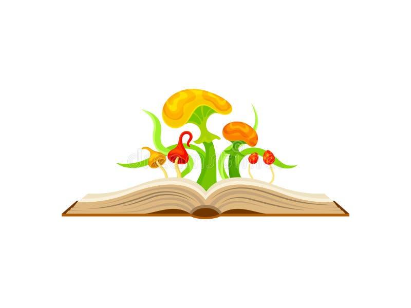 Sagolika champinjoner med gula och röda hattar white f?r vektor f?r bakgrundsillustrationhaj vektor illustrationer