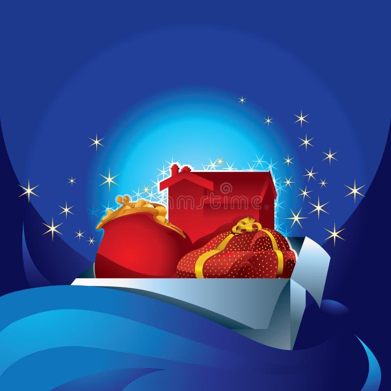 Sagolika gåvor i en ask royaltyfri illustrationer