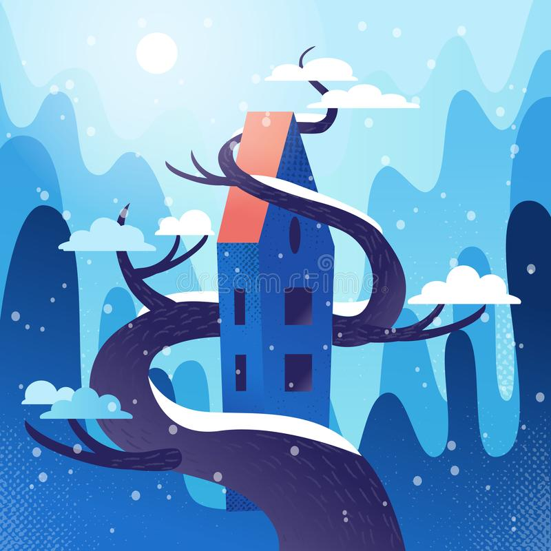 Sagolikt hus med taket som flätas samman med trädet på berg, kullebakgrund Vinterväder, snöflingor flyger, snö ligger på kronor vektor illustrationer