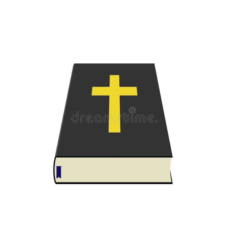 Sagrada Biblia con arte azul de la perspectiva de la señal ilustración del vector