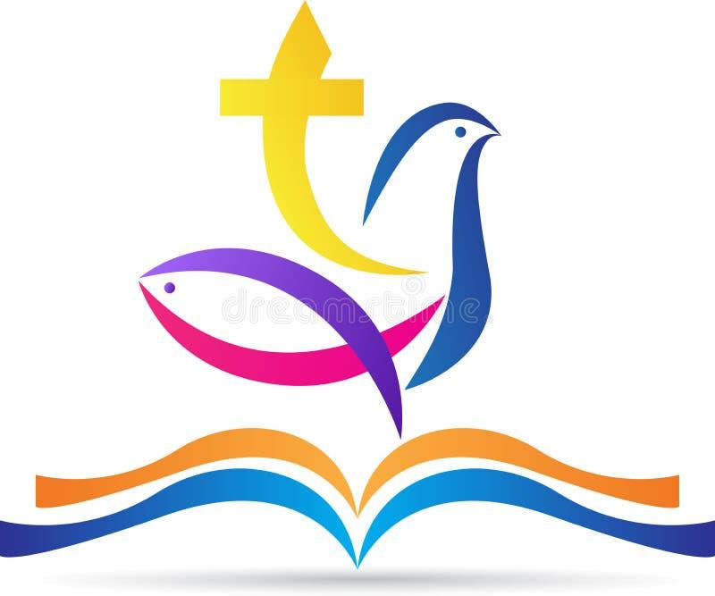 Sagrada Biblia con los pescados de la paloma de la cruz foto de archivo