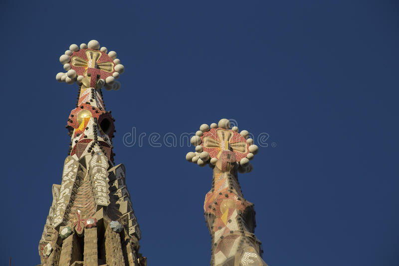 Sagrada famila towers ornaments stock images