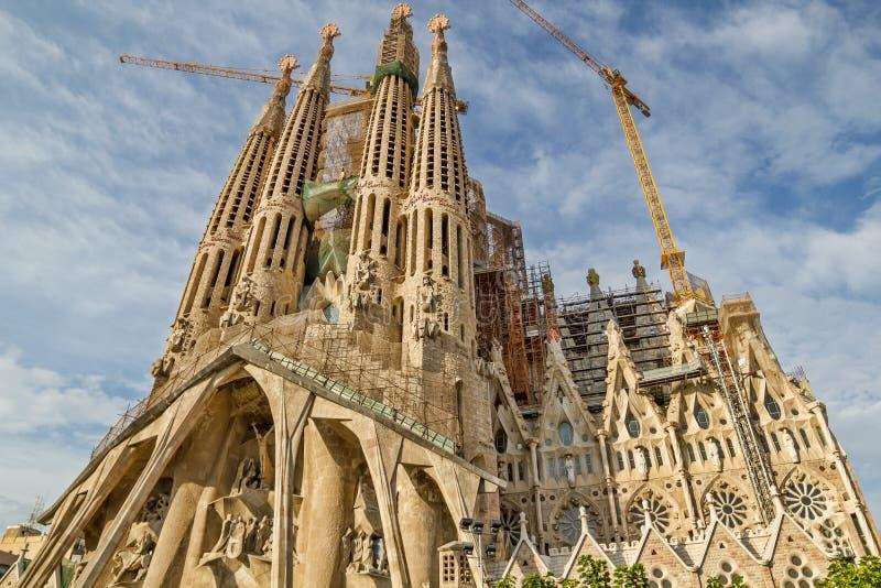 Sagrada Familia大教堂在巴塞罗那,西班牙 免版税库存图片