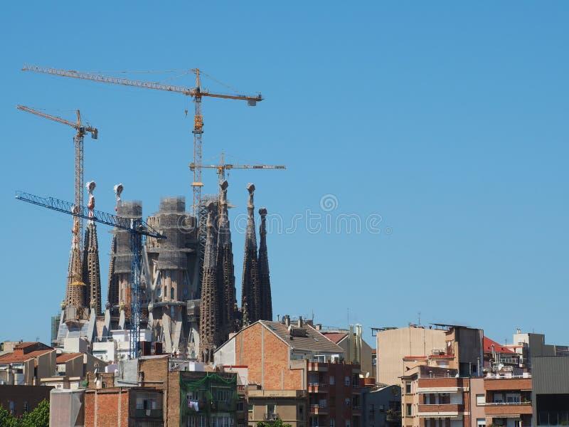 Sagrada Familia的工作在巴塞罗那,西班牙 免版税库存图片