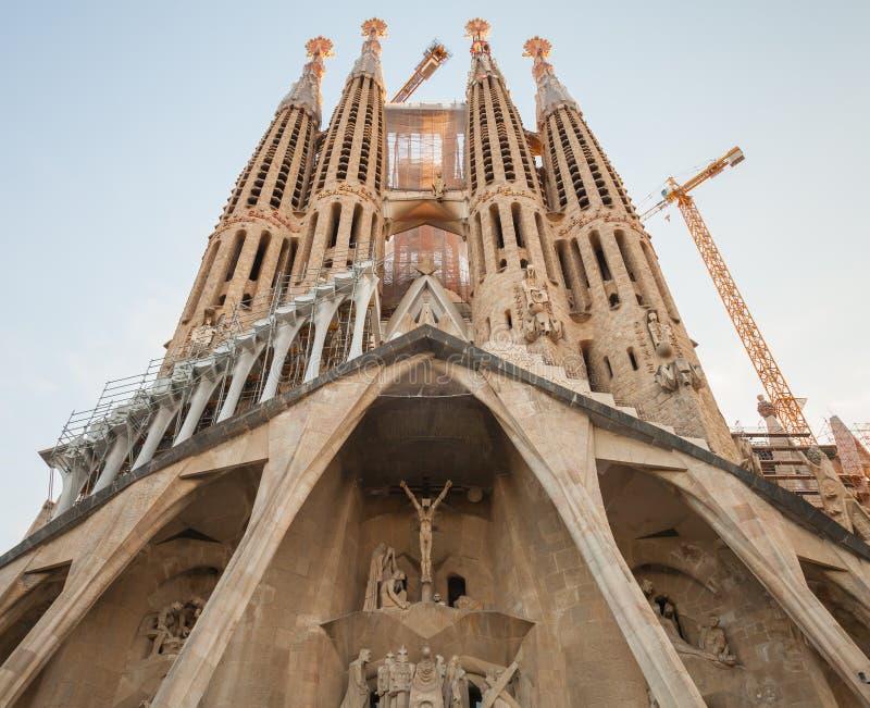 Sagrada Familia门面,大教堂Gaudi 库存图片