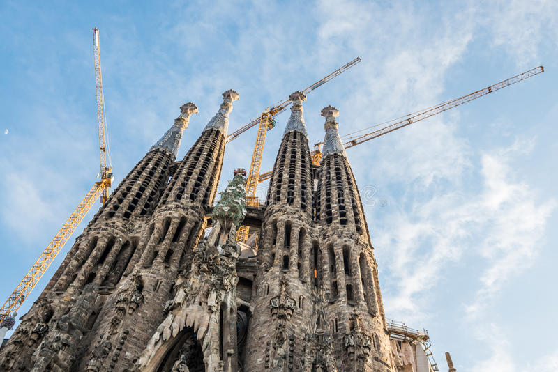 Sagrada Familia in Barcelona. Basilica and Expiatory Church of the Holy Family in Barcelona, Spain stock image