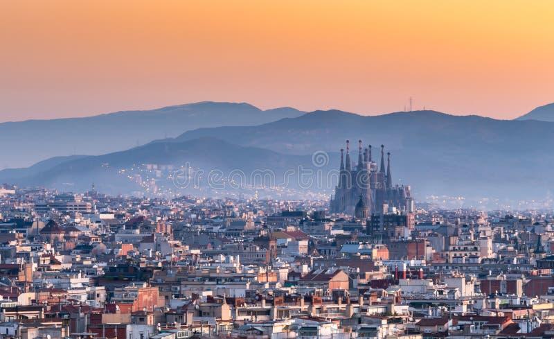 Sagrada Familia of barcelona city,Spain. Sagrada Familia and panorama view of barcelona city,Spain stock photography