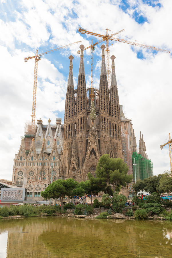 Sagrada Familia, Barcelona. Sagrada Familia, iconic and beautiful Cathedral building in Barcelona. Antoni Gaudi dedicated his final forty years to the neogothic stock photos