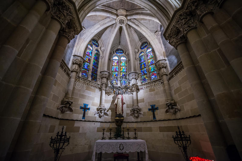 Sagrada Familia in Barcelona. Inside the Basilica and Expiatory Church of the Holy Family in Barcelona, Spain stock photos