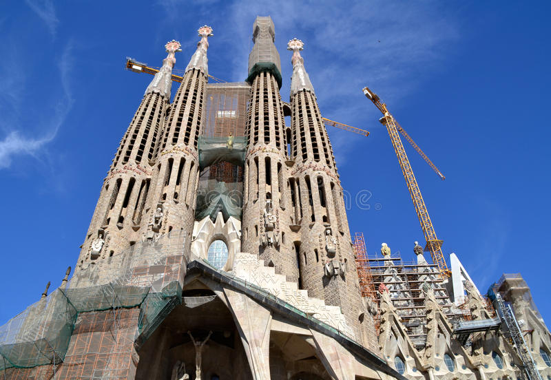 Sagrada Familia in Barcelona, Spain. Basilica and Expiatory Church designed by Gaudi, is being build since 1882 and is still under construction royalty free stock images