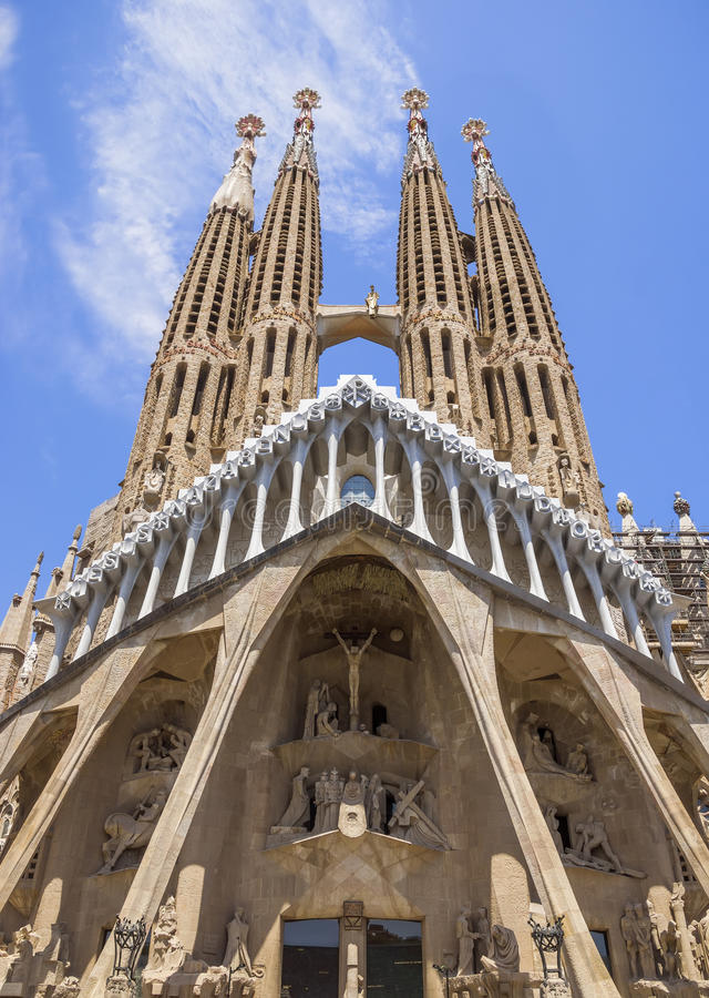 Sagrada Familia Barcelona. BARCELONA, SPAIN - JULY 5, 2016: La Sagrada Familia - the impressive cathedral designed by Gaudi, which is being build since 19 March stock photography