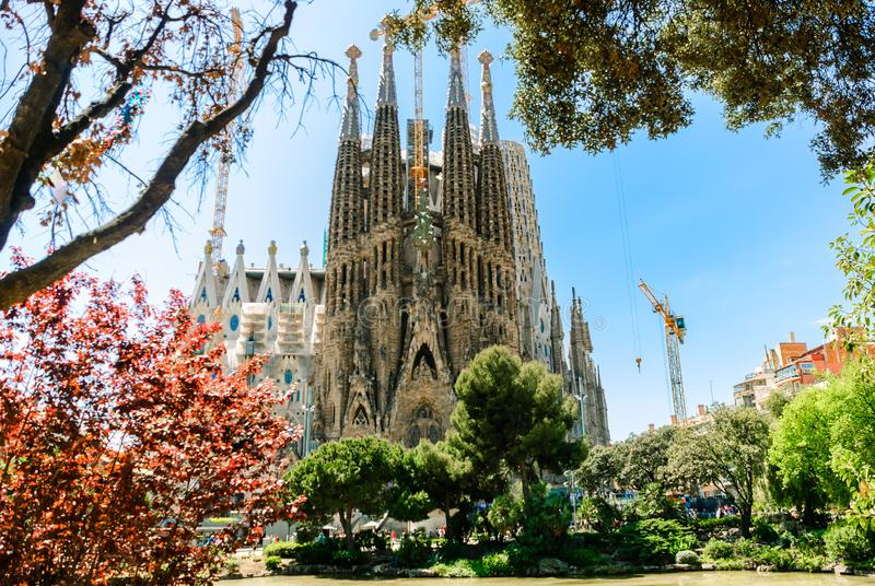 Sagrada Familia. Basilica and Expiatory Church of the Holy Family. Building a temple in Barcelona, Spain stock image