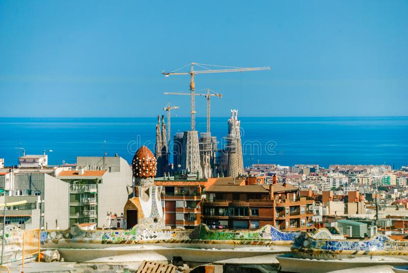 Sagrada Familia. Basilica and Expiatory Church of the Holy Family. Panorama of Barcelona. Summer day in Spain. Blue Sky of Spain royalty free stock image