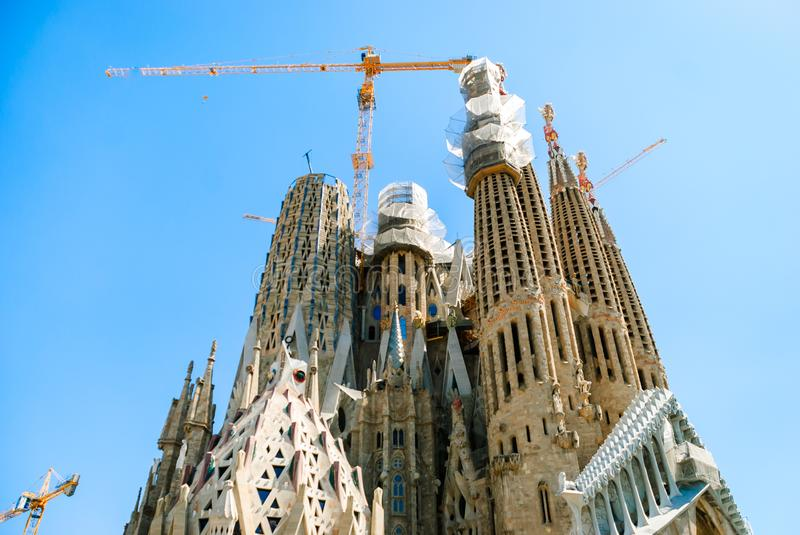 Sagrada Familia. Basilica and Expiatory Church of the Holy Family. Building a temple in Barcelona, Spain royalty free stock image