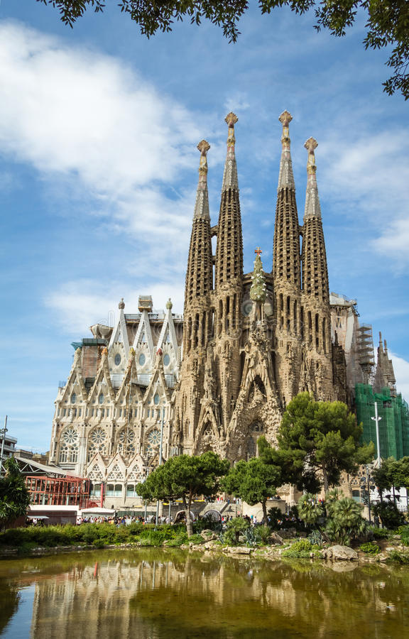 the sagrada familia cathedral in barcelona  spain stock photo