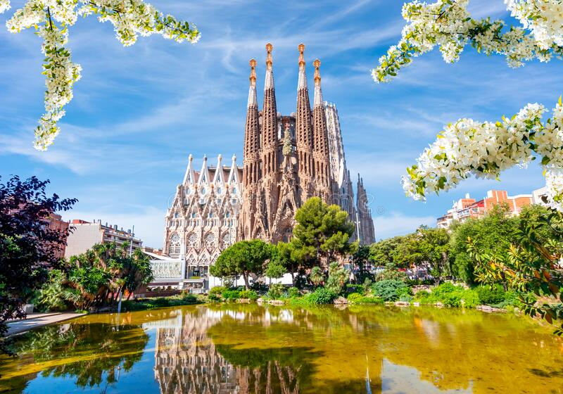 Sagrada Familia Cathedral in spring, Barcelona, Spain royalty free stock photo