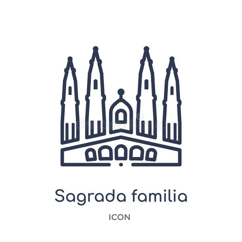 sagrada familia de bouwpictogram van de inzameling van het monumentenoverzicht Dun lijnsagrada familia de bouwpictogram dat op wi stock illustratie