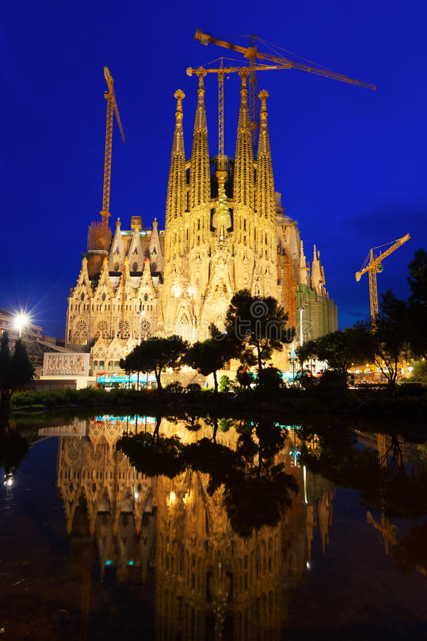 Sagrada Familia in evening stock photography