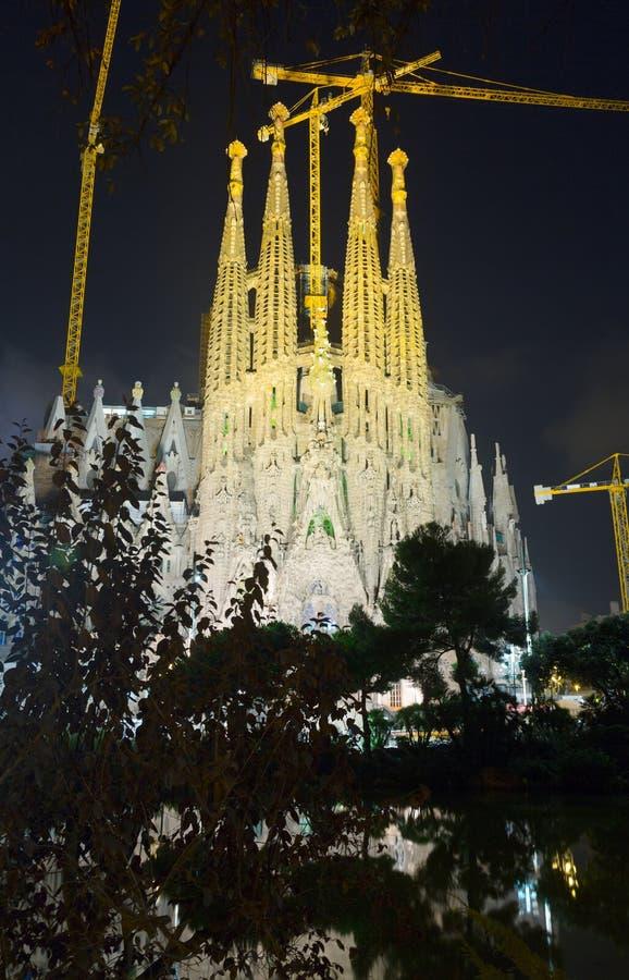 Sagrada Familia in evening. Barcelona royalty free stock photography