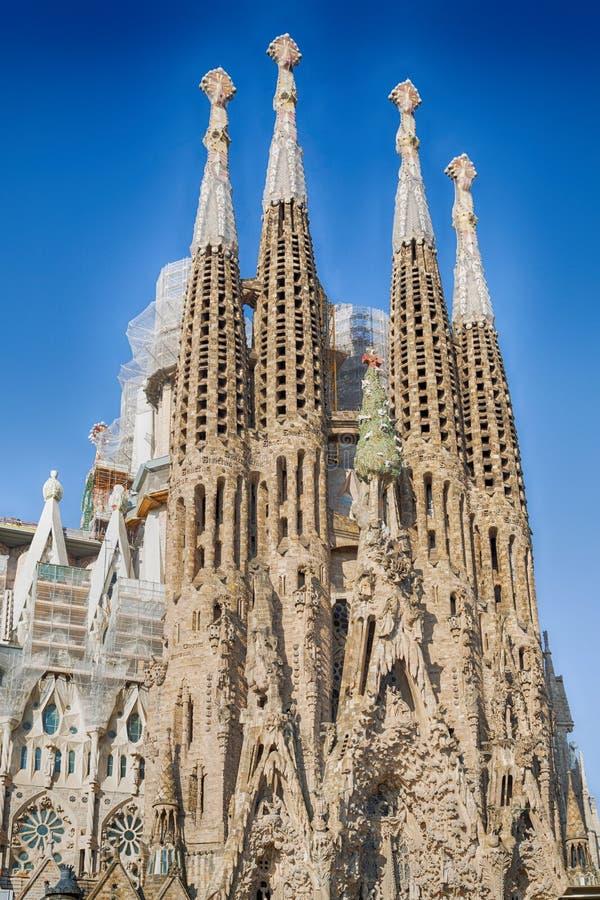 Sagrada Familia i Barcelona, Spanien arkivbild