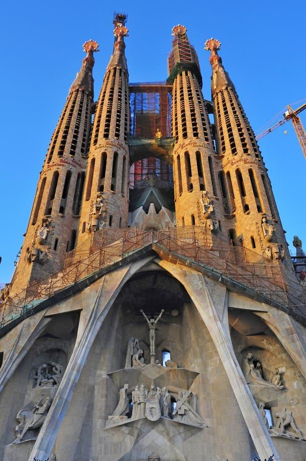 Sagrada Familia i Barcelona, Spanien royaltyfri fotografi