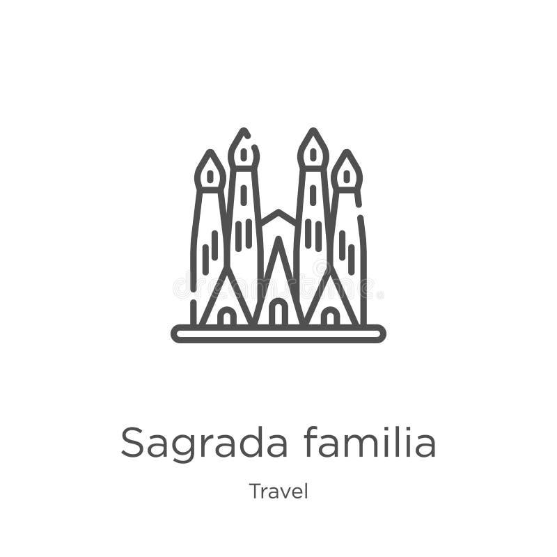 sagrada familia ikony wektor od podróży kolekcji Cienka kreskowa Sagrada familia konturu ikony wektoru ilustracja Kontur, cieniej royalty ilustracja