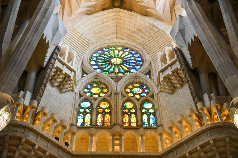 Sagrada Familia interior, Barcelona, Spain stock photo