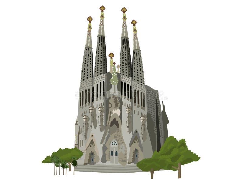 Sagrada Familia kyrkaillustration royaltyfri fotografi
