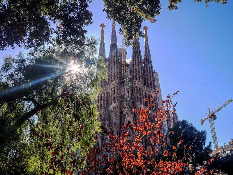 View of the Sagrada Familia, a large Roman Catholic church in Barcelona, Spain royalty free stock photos