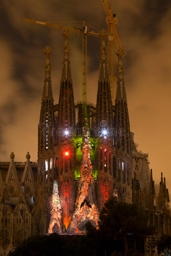 Sagrada Familia multi media show stock image