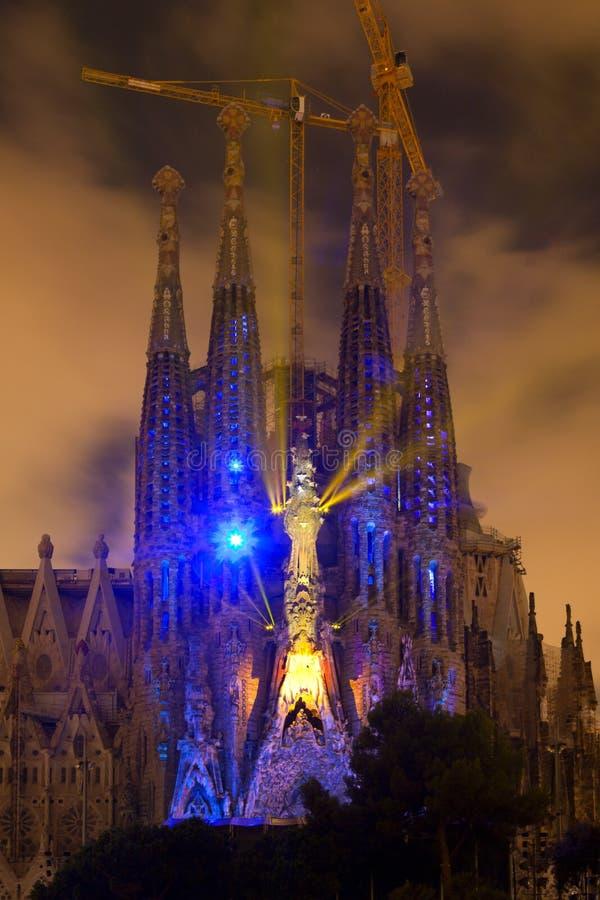 Sagrada Familia multi media show royalty free stock photos