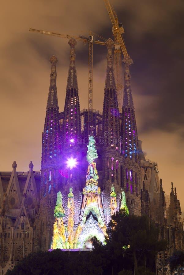 Sagrada Familia multi media show stock photography
