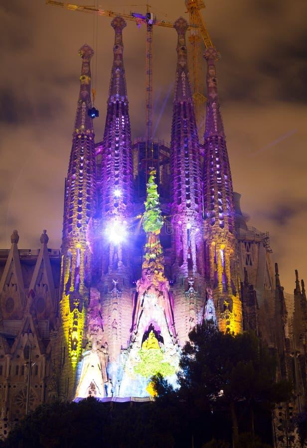 Sagrada Familia multi media show royalty free stock photography