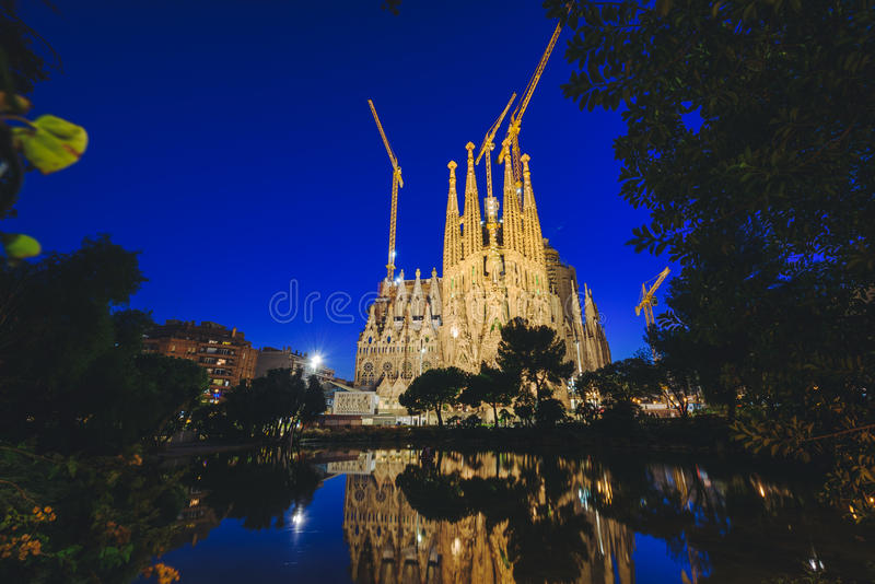Sagrada Familia at night, Barcelona, Spain. Barcelona, Catalonia, Spain - December 24, 2015: Sagrada Familia. South facade of the Passion of Christ. Barcelona royalty free stock photography