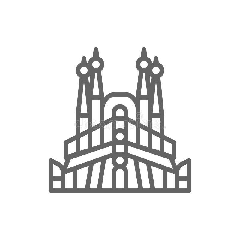 Sagrada Familia, Spanien, gr?nsm?rkelinje symbol stock illustrationer