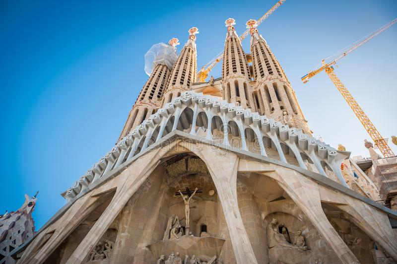 Sagrada Familia, Spanje, Barcelona, September 2017, Kathedraal des royalty-vrije stock fotografie